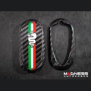 Alfa Romeo 4C Key Fob Cover - Carbon Fiber - Italian Racing Stripe Design