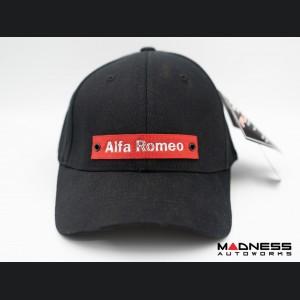 Cap - Alfa Romeo - Black w/ Red Nylon Band + Metallic Alfa Romeo Logo