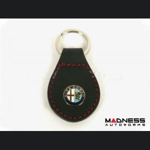 Keychain - Alfa Romeo - Leather And Enamel - Black w/ Red Stitching