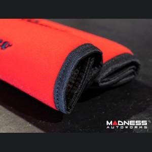 Alfa Romeo Seat Belt Shoulder Pads (set of 2) - Red w/ Alfa Romeo Logo and Black Binding
