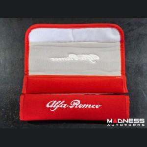 Alfa Romeo Seat Belt Shoulder Pads (set of 2) - Red w/ White Alfa Romeo Logo and Red Binding
