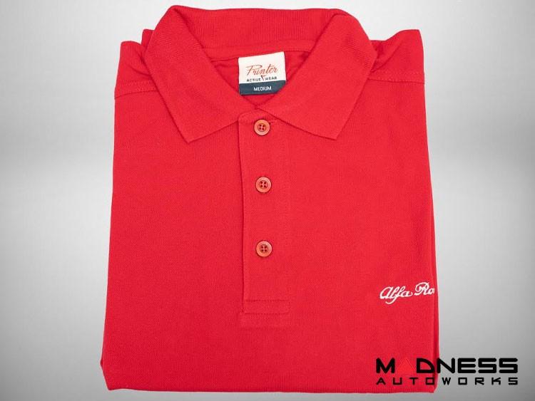 Alfa Romeo Polo Shirt - Red w/ White Script