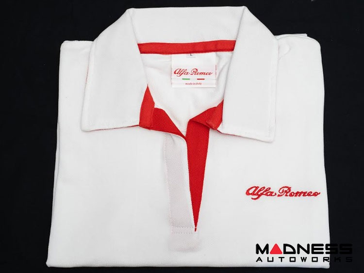 Alfa Romeo Polo Shirt - White w/ Red Alfa Romeo Logo