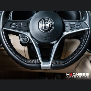 Alfa Romeo Giulia Steering Wheel Side Trim Kit - Carbon Fiber - Pre '20 models - Feroce Carbon