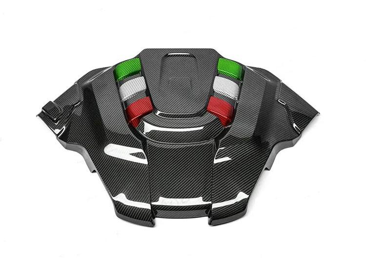 Alfa Romeo Giulia Engine Cover - Carbon Fiber - Quadrifoglio Version - Italian Flag Accents