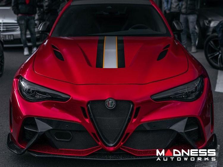 Alfa Romeo Giulia GTAm Style Front Bumper - Carbon Fiber - With Parking Sensors