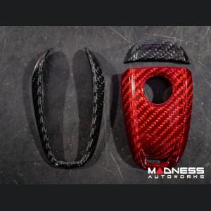 Alfa Romeo Stelvio Key Fob Cover  - Carbon Fiber - Black/ Red