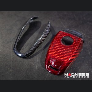 Alfa Romeo Giulia Key Fob Cover  - Carbon Fiber - Black/ Red