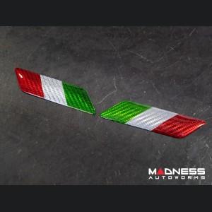 Alfa Romeo Giulia Badges - Carbon Fiber - Italian Flag