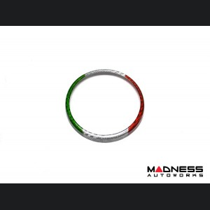 Alfa Romeo Stelvio Carbon Fiber Rear Emblem Frame Trim - Italian Flag