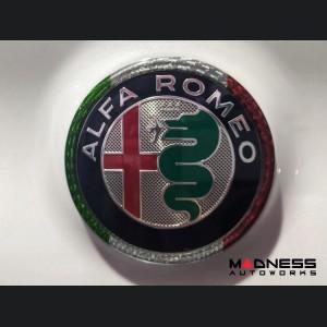 Alfa Romeo Stelvio Rear Emblem Frame Trim - Carbon Fiber - Italian Flag