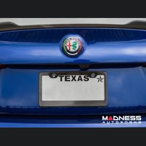 Alfa Romeo Giulia Carbon Fiber Rear Emblem Frame Trim - Italian Flag