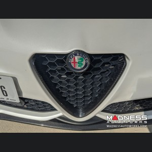 Alfa Romeo Giulia Front V Shield Grill Frame + Emblem Frame Kit - Gloss Carbon Fiber