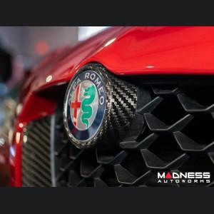 Alfa Romeo Giulia Front V Shield Grill Frame + Emblem Frame Kit - Carbon Fiber - Feroce Carbon