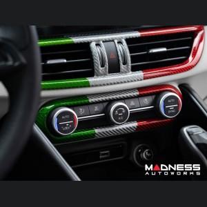 Alfa Romeo Giulia Internal A/C Air Vent Cover Frame - Carbon Fiber - Italian Flag - LHD
