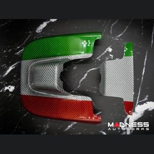 Alfa Romeo Giulia Carbon Fiber Interior Mirror Holder Frame - Carbon Fiber - Italian Flag