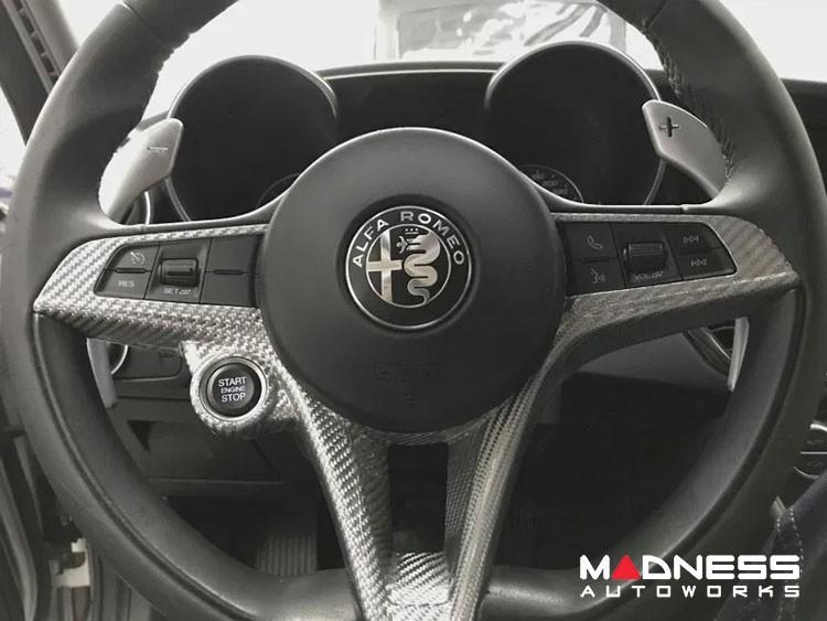 Alfa Romeo Giulia Steering Wheel Trim - Std Model - Carbon Fiber - White