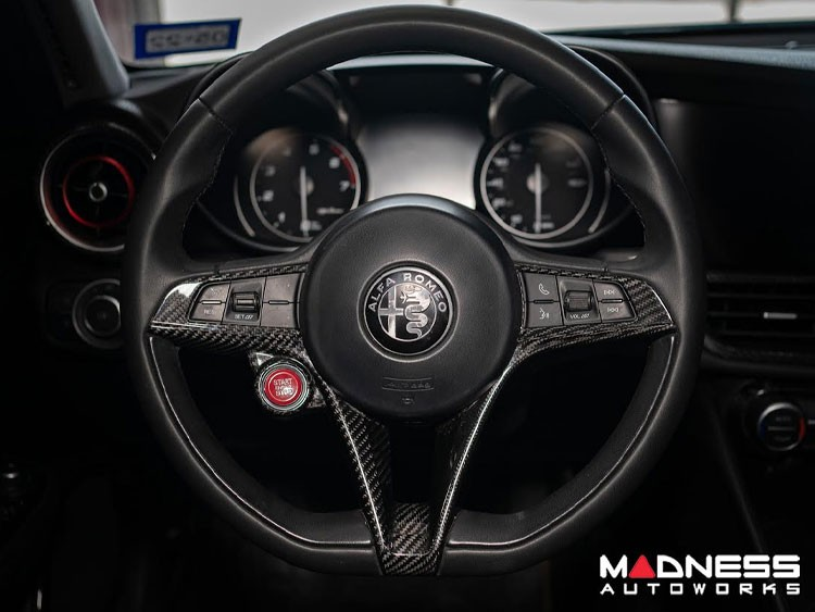 Alfa Romeo Giulia Steering Wheel Trim - Std Model - Carbon Fiber