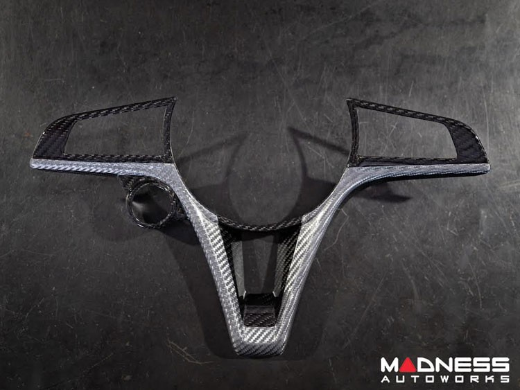 Alfa Romeo Giulia Steering Wheel Trim - Std Model - Carbon Fiber - Custom White CF Finish