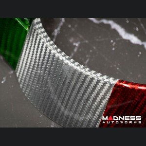 Alfa Romeo Giulia Steering Wheel Trim - QV Model - Center Trim Piece - Carbon Fiber - Italian Flag Finish
