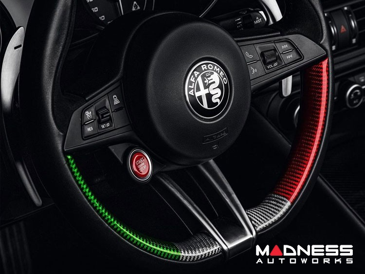 Alfa Romeo Stelvio Steering Wheel Trim - QV Model - Side Covers - Carbon Fiber - Italian Flag