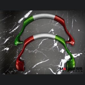 Alfa Romeo Stelvio Steering Wheel Trim - QV Model - Upper Trim Piece - Carbon Fiber - Italian Flag