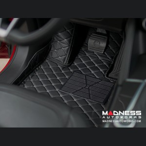 Alfa Romeo Giulia Floor Liner Set - Black w/ White Stitching - Fronts