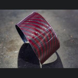 Alfa Romeo Stelvio Front Emblem Frame Cover - Carbon Fiber - Red