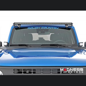 """Ford Bronco Windshield Light Bar Kit by Rough Country - 50"""" Single Row LED - Black Series"""