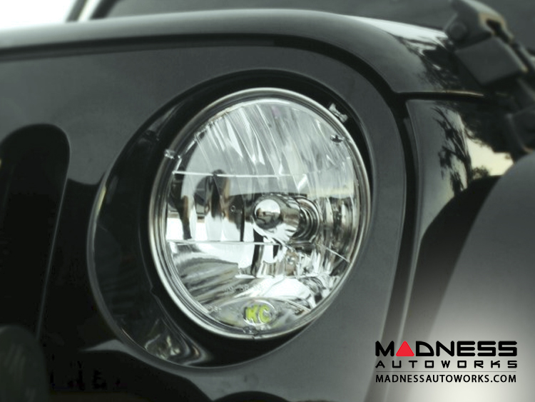 "Jeep Wrangler JK 7"" Headlights by Addictive Desert Designs - Round/ Clear - 55/ 60 Watt"