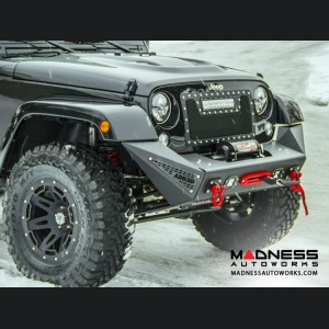 Jeep Wrangler JK Stealth Fighter Front Bumper Center w/ Tow Hooks by Addictive Desert Designs - 2007+