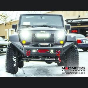 Jeep Wrangler JK Stealth Fighter Front Bumper Center w/ Tow Hooks by Addictive Desert Designs - 2007+