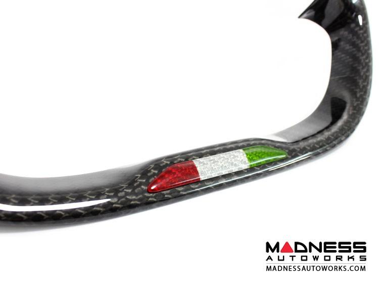 Alfa Romeo 4C Carbon Fiber Steering Wheel Badge - Italian Flag