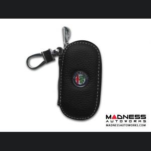 Alfa Romeo Keychain/ Key Holder - Black w/ Alfa Romeo Logo