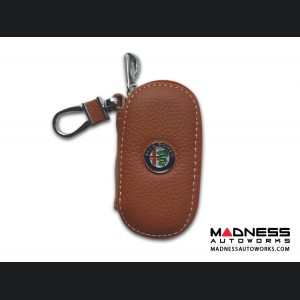 Alfa Romeo Keychain/ Key Holder - Brown w/ Alfa Romeo Logo