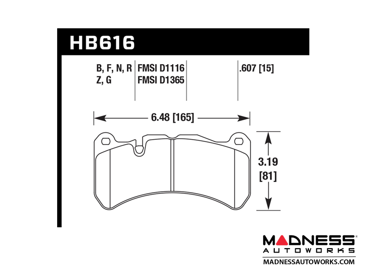 alfa romeo giulia brake pads - ceramic - hawk - front - quadrifoglio model