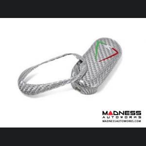 Alfa Romeo 4C Key Fob Cover - Carbon Fiber - Silver w/ Italian Theme