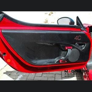 Alfa Romeo 4C Carbon Fiber Door Panels - w/ Red 4c Logo
