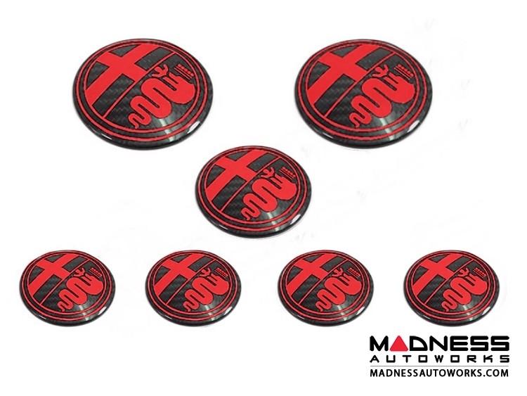 Alfa Romeo 4C Carbon Fiber Badge Cover Kit - Alfa Romeo Logo in Red