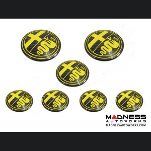 Alfa Romeo 4C Carbon Fiber Badge Cover Kit - Alfa Romeo Logo in Yellow