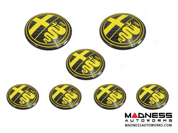 Alfa Romeo 4C Carbon Fiber Badge Cover Kit - Alfa Romeo Logo in Yellow