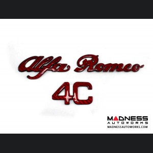 Alfa Romeo 4C Carbon Fiber Engine Cover Emblem - Alfa Romeo in Red