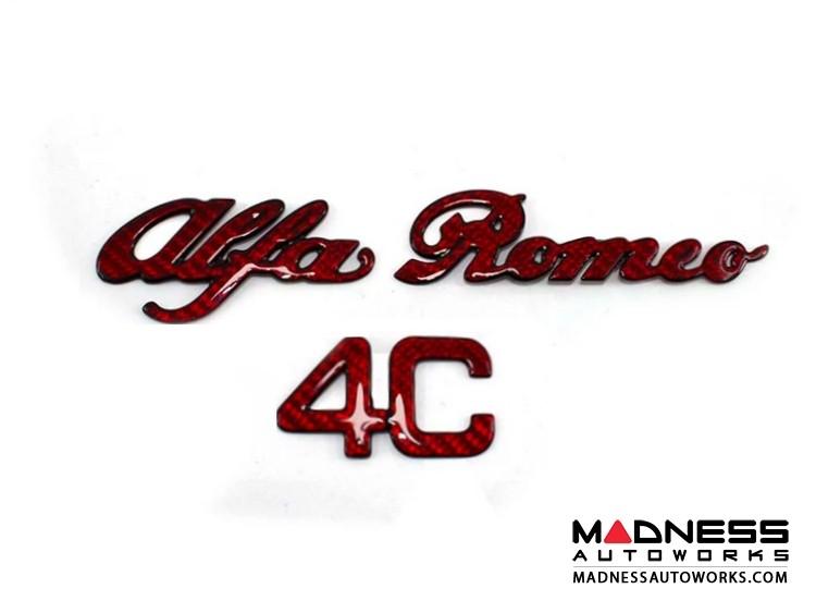 Alfa Romeo 4C Carbon Fiber Engine Cover Emblem - Alfa Romeo in Red