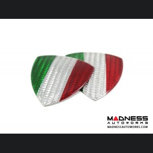 Alfa Romeo Giulia Badges - Carbon Fiber - Italian Flag Shield