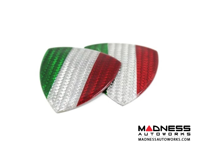 Alfa Romeo 4C Carbon Fiber Badges - Italian Flag Shield