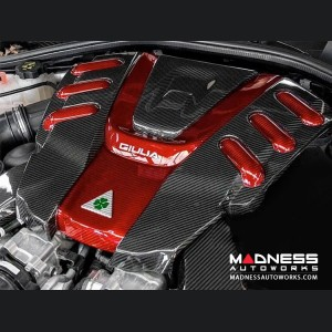 Alfa Romeo Giulia Engine Cover - Carbon Fiber w/ Red Center + Red Accents - Quadrifoglio Version