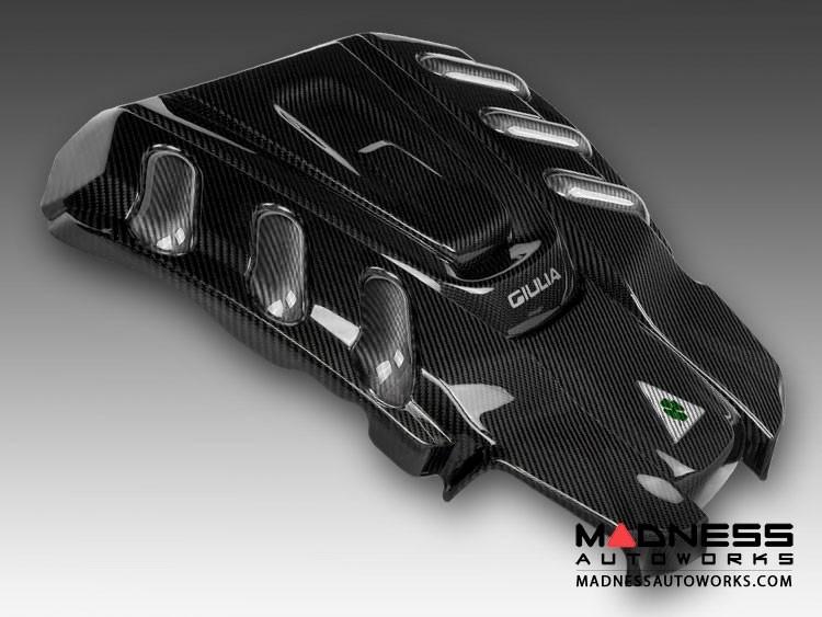 Alfa Romeo Giulia Engine Cover - Carbon Fiber w/ White Accents - Quadrifoglio Version