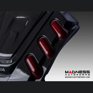 Alfa Romeo Giulia Engine Cover - Carbon Fiber w/ Red Accents - Quadrifoglio Version