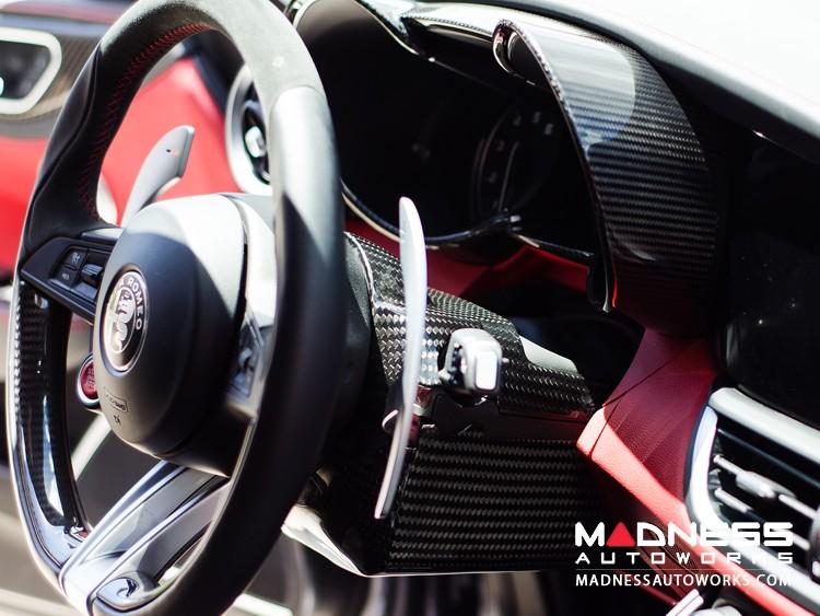 Alfa Romeo Giulia Steering Wheel Shroud - Carbon Fiber - Left Hand Drive