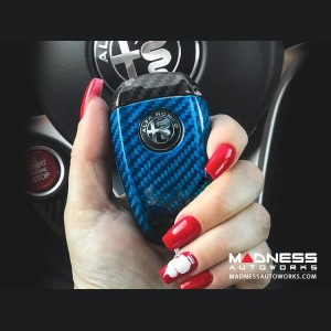 Alfa Romeo Giulia Key Fob Cover  - Carbon Fiber - Blue Main/ Black Accents